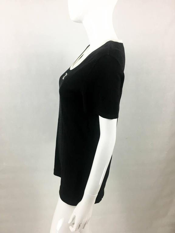 1990s Chanel Black Cotton Jersey T-Shirt With White Logo For Sale 2