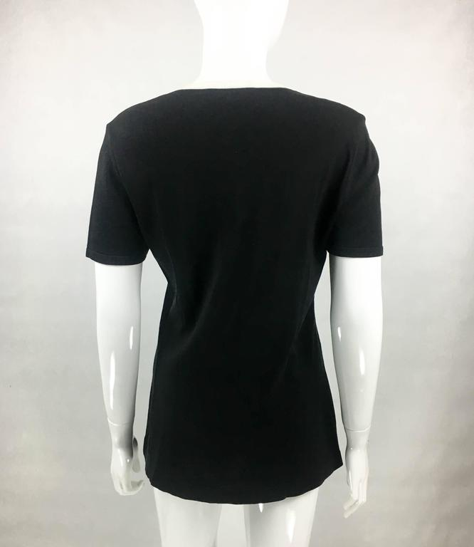 1990s Chanel Black Cotton Jersey T-Shirt With White Logo For Sale 3