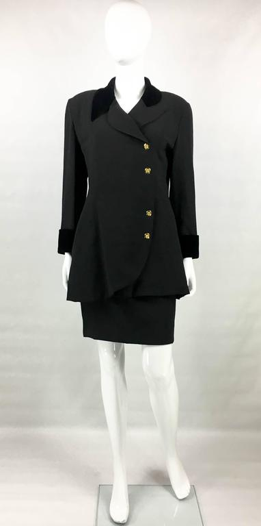 1990s Chanel Black Wool Skirt Suit With Velvet Collar and Cuffs 2
