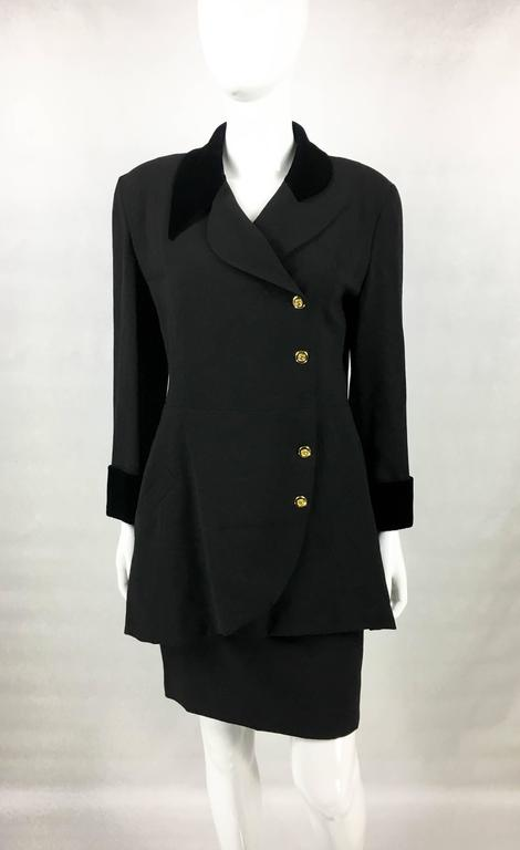 1990s Chanel Black Wool Skirt Suit With Velvet Collar and Cuffs 3
