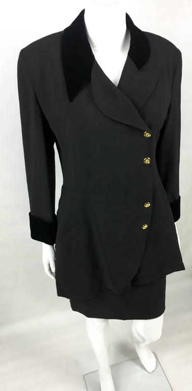 1990s Chanel Black Wool Skirt Suit With Velvet Collar and Cuffs 4