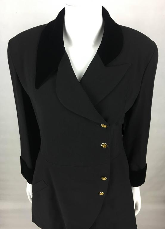 1990s Chanel Black Wool Skirt Suit With Velvet Collar and Cuffs 5