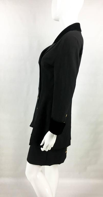 1990s Chanel Black Wool Skirt Suit With Velvet Collar and Cuffs 6