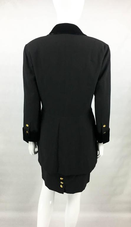 1990s Chanel Black Wool Skirt Suit With Velvet Collar and Cuffs 7