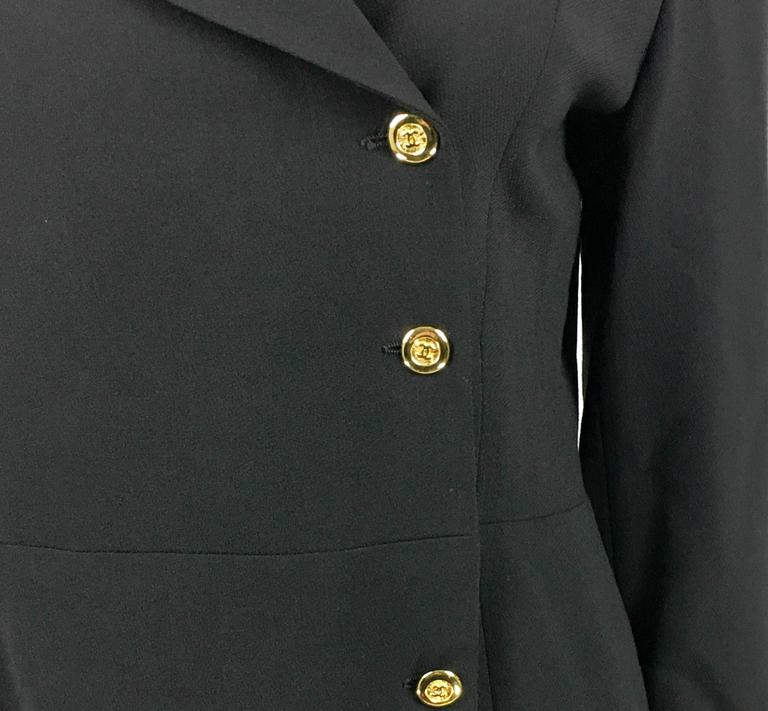 1990s Chanel Black Wool Skirt Suit With Velvet Collar and Cuffs 8