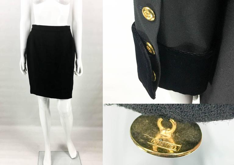 1990s Chanel Black Wool Skirt Suit With Velvet Collar and Cuffs 9