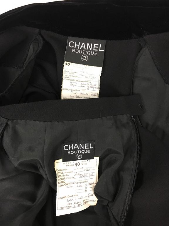 1990s Chanel Black Wool Skirt Suit With Velvet Collar and Cuffs 10