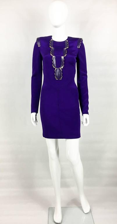 2010s Versace Royal Purple Body-Hugging Cocktail Dress 2