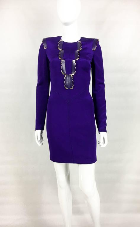 2010s Versace Royal Purple Body-Hugging Cocktail Dress 3