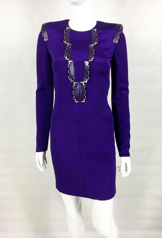2010s Versace Royal Purple Body-Hugging Cocktail Dress 4