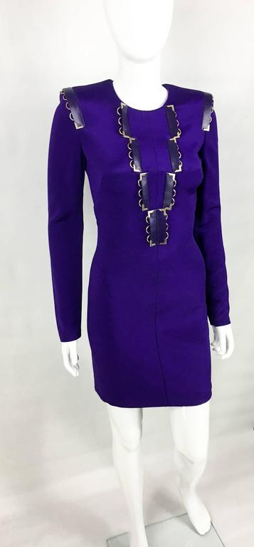 2010s Versace Royal Purple Body-Hugging Cocktail Dress 5