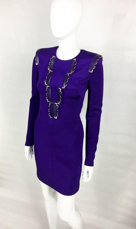 2010s Versace Royal Purple Body-Hugging Cocktail Dress 6