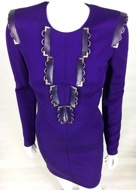 2010s Versace Royal Purple Body-Hugging Cocktail Dress 7