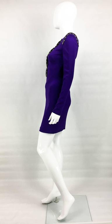 2010s Versace Royal Purple Body-Hugging Cocktail Dress 8