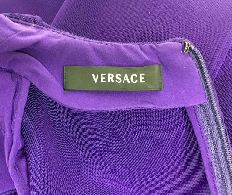 2010s Versace Royal Purple Body-Hugging Cocktail Dress 10