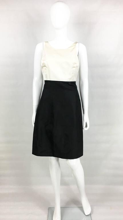 2006 Chanel Black and White Silk Cocktail Dress 2