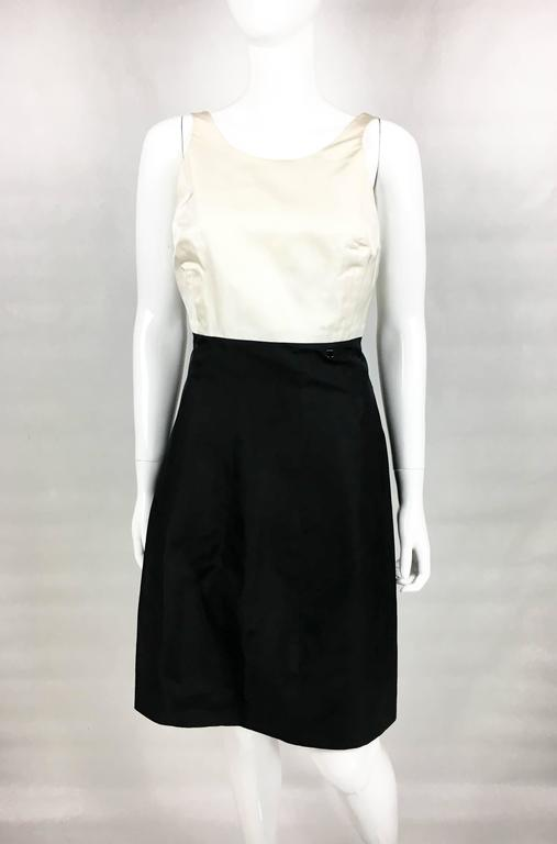 2006 Chanel Black and White Silk Cocktail Dress 3