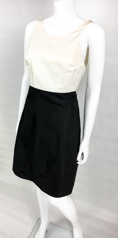 2006 Chanel Black and White Silk Cocktail Dress 5