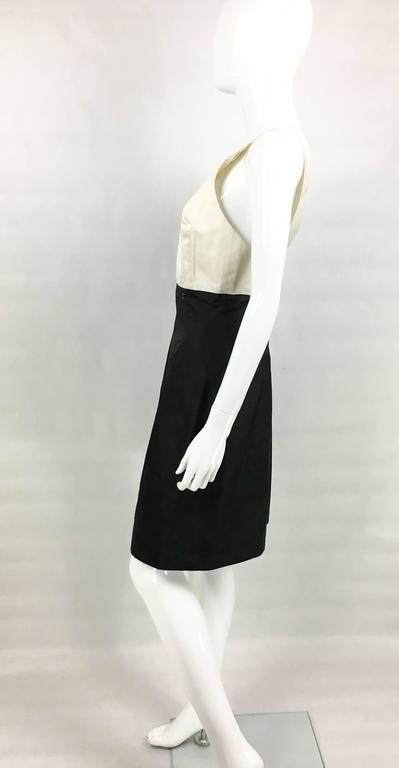 2006 Chanel Black and White Silk Cocktail Dress 6