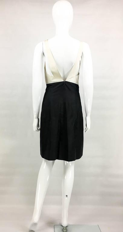 2006 Chanel Black and White Silk Cocktail Dress 7