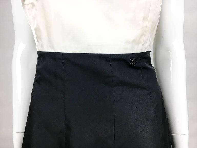 2006 Chanel Black and White Silk Cocktail Dress 8