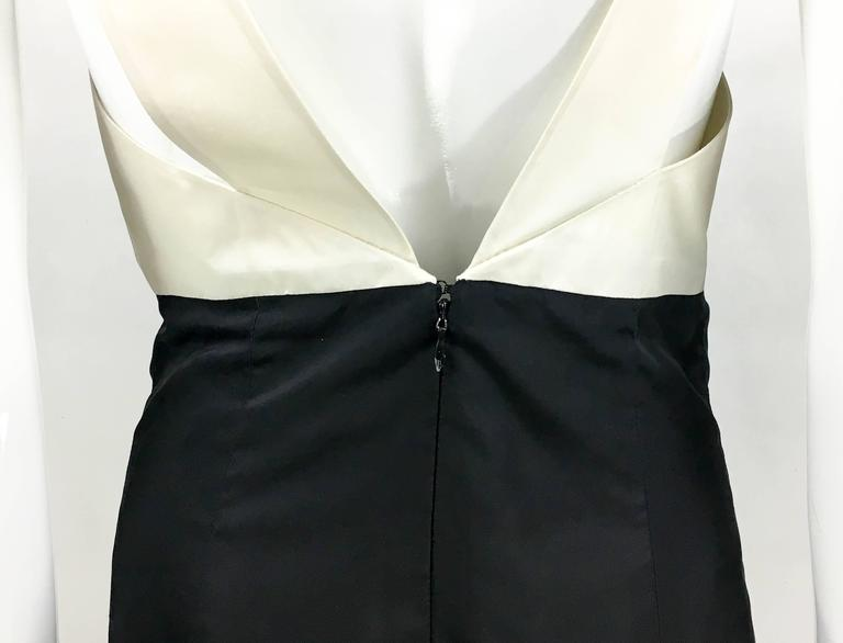 2006 Chanel Black and White Silk Cocktail Dress 9