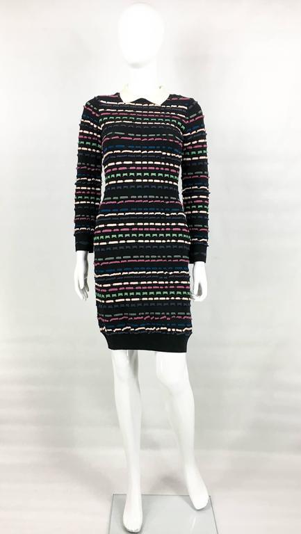 2010 S Missoni Multi Coloured Striped Black Dress For Sale