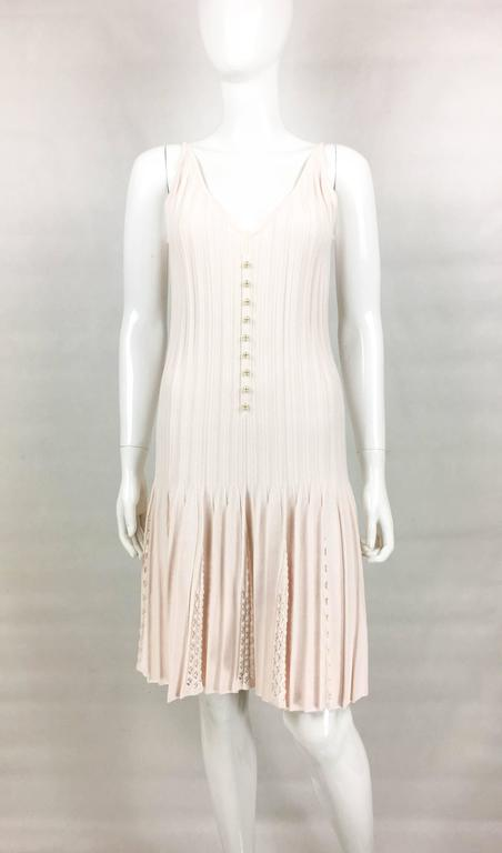 2012 Chanel Pale Pink Summer Dress With Pearl Buttons 3