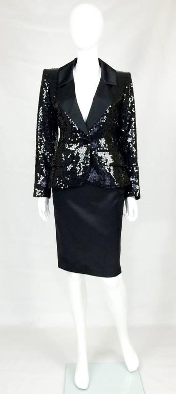 Black 1980 Yves Saint Laurent Le Smoking Sequin Jacket, Long and Short Skirt Suit For Sale