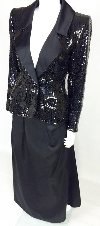 1980 Yves Saint Laurent Le Smoking Sequin Jacket, Long and Short Skirt Suit In Excellent Condition For Sale In London, Chelsea