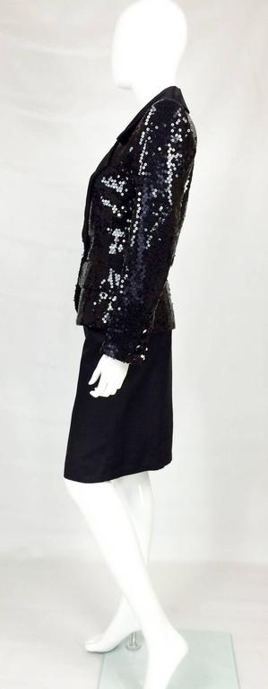 Women's 1980 Yves Saint Laurent Le Smoking Sequin Jacket, Long and Short Skirt Suit For Sale