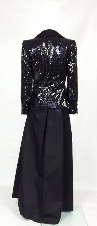 1980 Yves Saint Laurent Le Smoking Sequin Jacket, Long and Short Skirt Suit For Sale 1