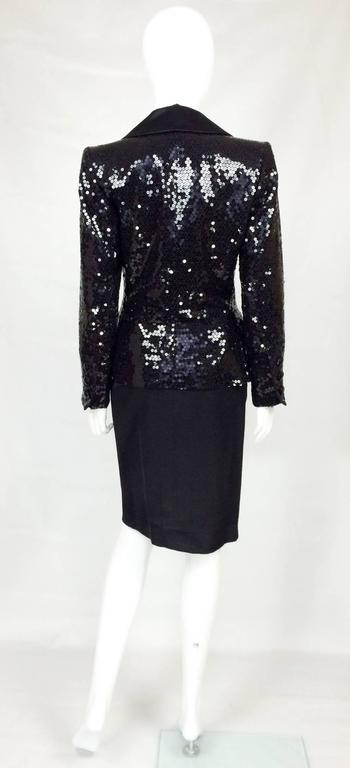 1980 Yves Saint Laurent Le Smoking Sequin Jacket, Long and Short Skirt Suit For Sale 2