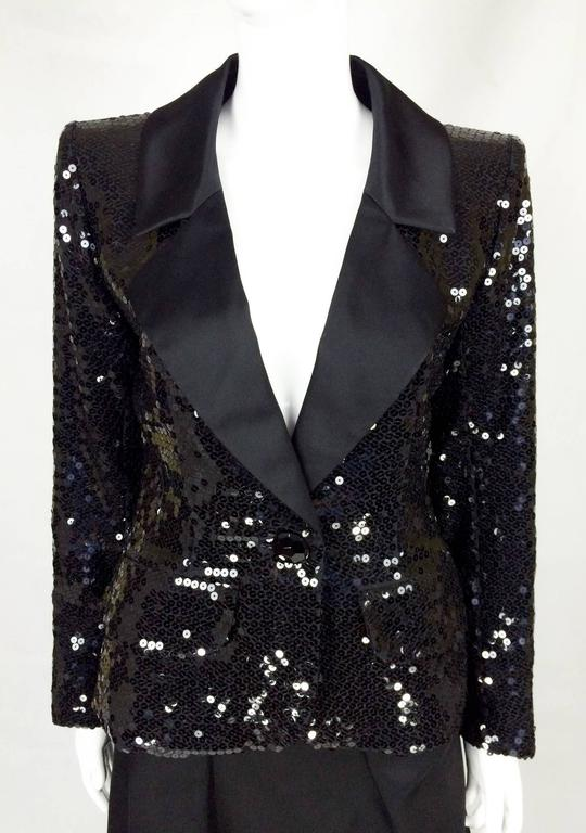 1980 Yves Saint Laurent Le Smoking Sequin Jacket, Long and Short Skirt Suit For Sale 3