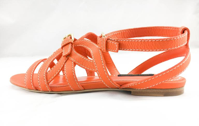 Louis Vuitton Orange Leather Flat Sandals In New Never_worn Condition For Sale In London, Chelsea