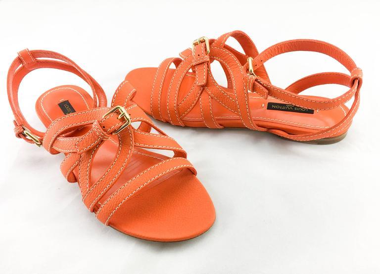 Women's Louis Vuitton Orange Leather Flat Sandals For Sale