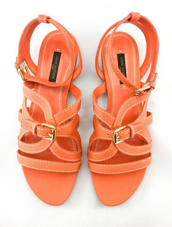 Louis Vuitton Orange Leather Flat Sandals For Sale 1