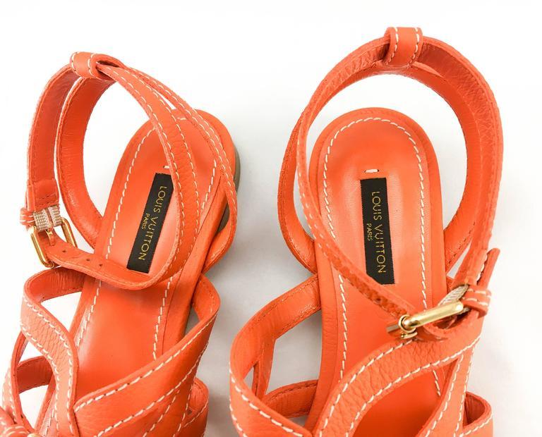 Louis Vuitton Orange Leather Flat Sandals For Sale 2