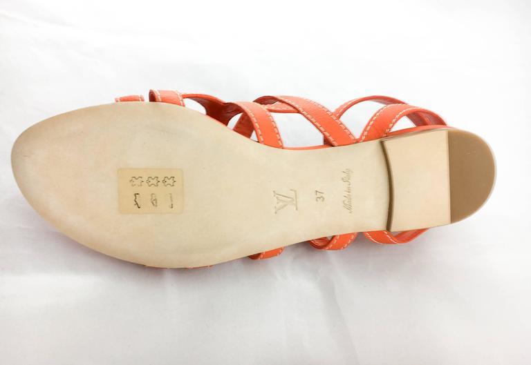 Louis Vuitton Orange Leather Flat Sandals For Sale 3