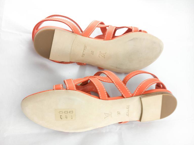 Louis Vuitton Orange Leather Flat Sandals For Sale 4