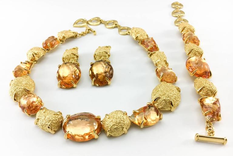 1980s Yves Saint Laurent by Goossens Faux Topaz and Gold-Plated Nugget Set In Excellent Condition For Sale In London, Chelsea