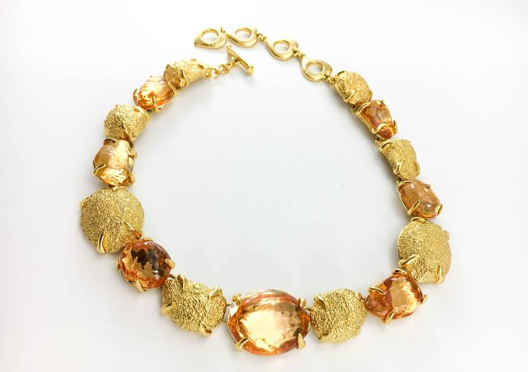 Women's 1980s Yves Saint Laurent by Goossens Faux Topaz and Gold-Plated Nugget Set For Sale