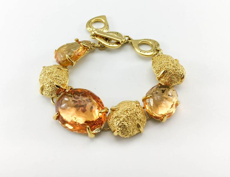 1980s Yves Saint Laurent by Goossens Faux Topaz and Gold-Plated Nugget Set For Sale 1