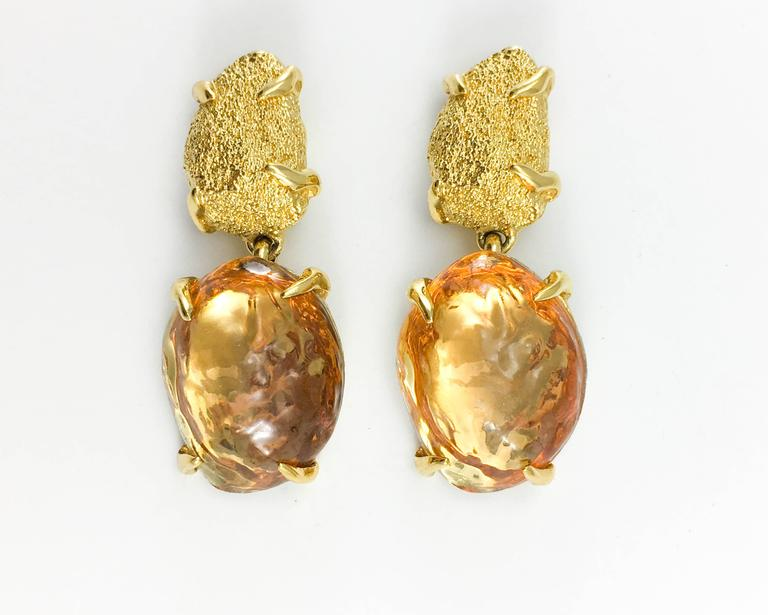 1980s Yves Saint Laurent by Goossens Faux Topaz and Gold-Plated Nugget Set For Sale 2