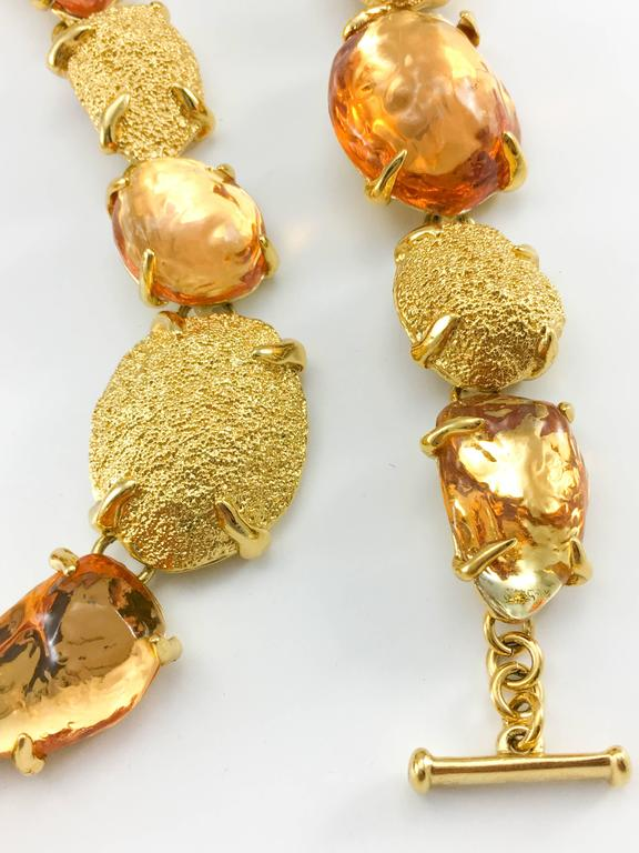 1980s Yves Saint Laurent by Goossens Faux Topaz and Gold-Plated Nugget Set For Sale 3