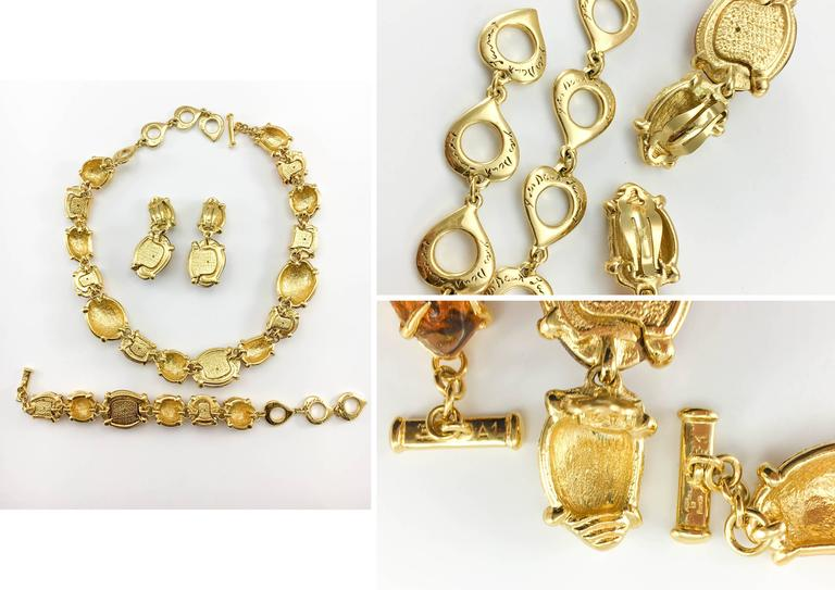 1980s Yves Saint Laurent by Goossens Faux Topaz and Gold-Plated Nugget Set For Sale 6
