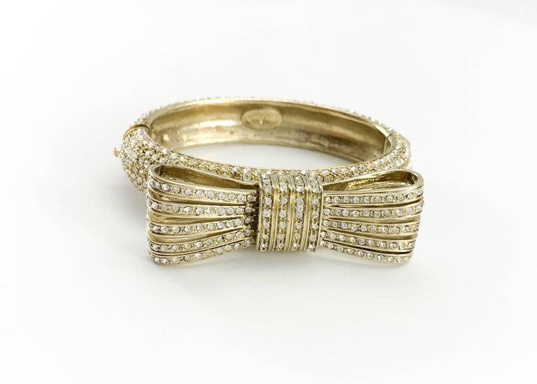 1980s Valentino  Gilt Diamanté Bow Bracelet In Excellent Condition For Sale In London, Chelsea