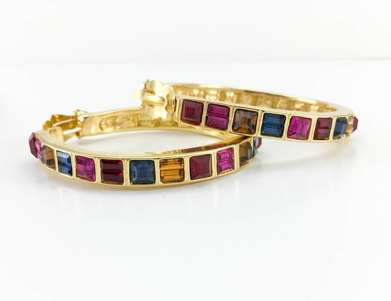 1980s Yves Saint Laurent Large Crystal Embellished Gold-Plated Hoop Earrings In Excellent Condition For Sale In London, Chelsea