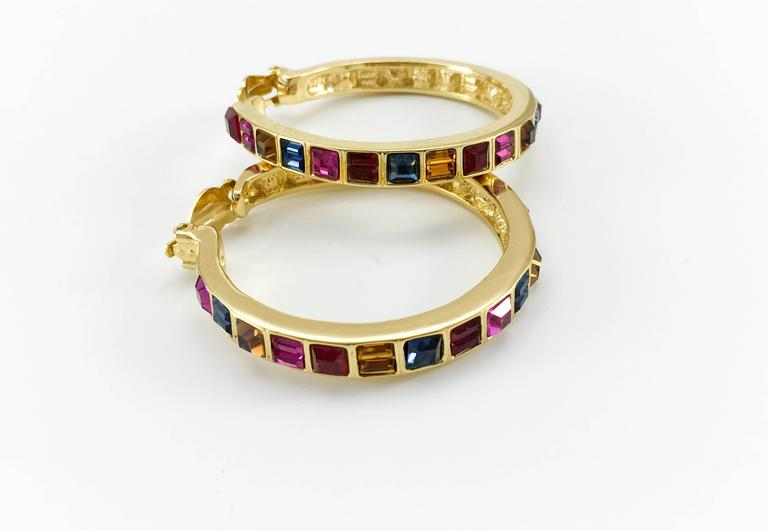 Women's 1980s Yves Saint Laurent Large Crystal Embellished Gold-Plated Hoop Earrings For Sale