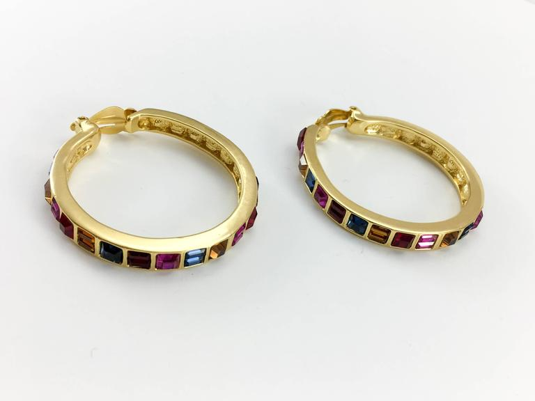 1980s Yves Saint Laurent Large Crystal Embellished Gold-Plated Hoop Earrings For Sale 2
